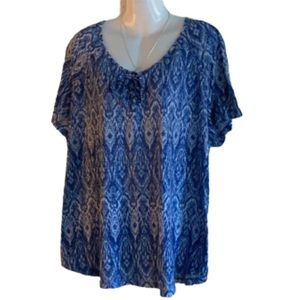 (3X) Blue & White Top with CrissCross Tie Up-GUC